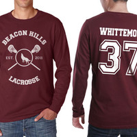Beacon Hills Lacrosse WL Whittemore 37 Jackson on Longsleeve MEN tee Maroon color