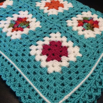 Granny Square Baby Bedding, Turquoise Baby Blanket, Baby Girl Heirloom Afghan