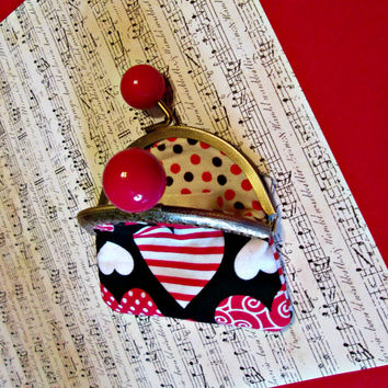 Valentines Day Sale Small Coin Purse in Heart Design with Kisslock Clasp