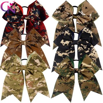 "12 Pieces/lot 7"" Camouflage Cheer Bows With Elastic Band"