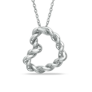 Rope Heart Pendant in Sterling Silver