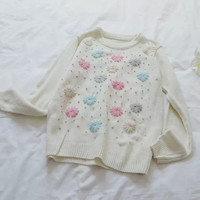 White Floral Embroidered Knitted Sweater