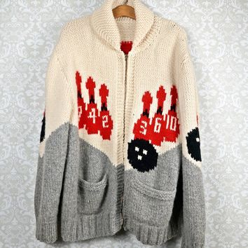 Vintage 50's Cowichan + Wool Bowling Sweater