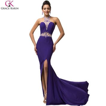 Sexy Evening Dress Robe Grace Karin Halter Split Sequin Beaded Halter Backless Formal Gowns Purple Evening Party Mermaid Dresses