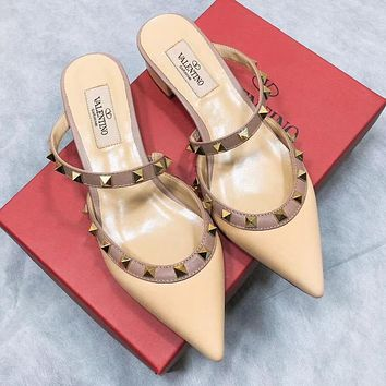 Valentino Fashionable Women Leather Pointed Rivet Half-Slippers Sandals Shoes