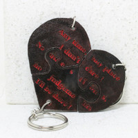 Friendship Key chains Leather Heart Puzzle Key chains Set of 3 Always Together Never Apart Made To Order