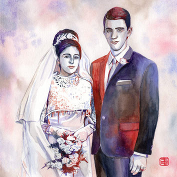 SPECIAL 50th WEDDING ANNIVERSARY present / gift for parents - Couple watercolor portrait