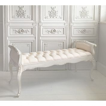 Provencal White Long Stool | Bedroom Bench