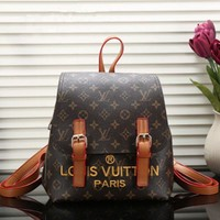 Louis Vuitton Women Casual School Bag Cowhide Leather Backpack