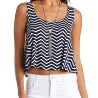Bow-Back Chevron Print Crop Top by Charlotte Russe - Navy Combo