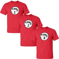 Dr Seuss Cat in The Hat Thing 1 Thing 2 T-shirt Thing 1 2 3 All Sizes Shirt