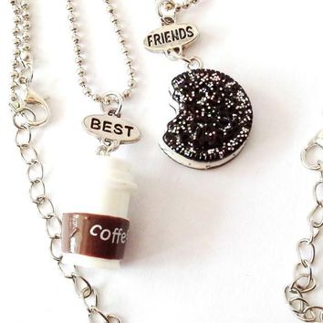 Best Friends Pendant Bead Chain Necklace Coffee Cup Oreo Glitter Biscuit Kids Jewelry Boys Girls Gift