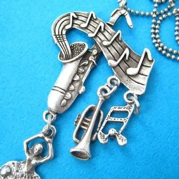 Ballerina Musical Notes and Instruments Saxophone Pendant Necklace in Silver