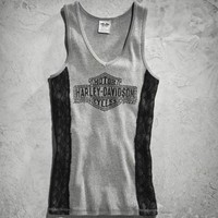 Harley-Davidson® Women's Lace Tank Gray with Black Lace Side Panels 96233-15VW