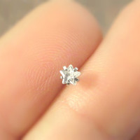Tiny Crystal Star Nose Stud or Screw Nose Bone Post