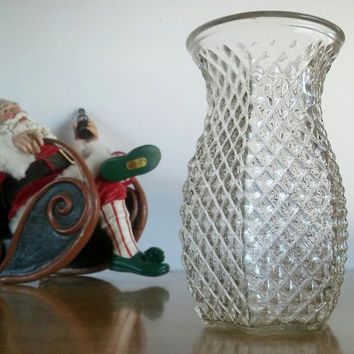 Hoosier Glass Vase Diamond Pressed Pattern, Vintage Hoosier Pressed Glass Vase