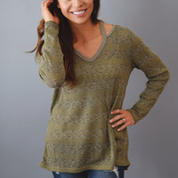 Sagebrush Cutout Sweater Olive