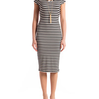 Open Back Striped Midi Dress