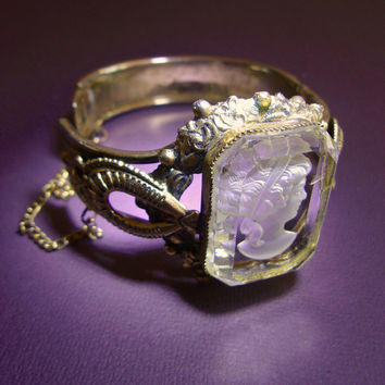 Victorian Revival Glass Cameo Hinged Bracelet, Reverse Carving, Gold Plated, Vintage