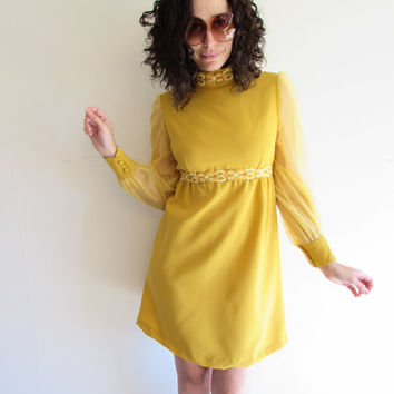 Classic Vintage 60s 70s Mustard Yellow Gogo Mini Scooter Dress with Sheer Sleeves