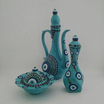 Turquoise Evil Eye decorated Pitcher , Sugar Bowl and Vase Set , Fast Free Shipping , Mother's Day Set , three in one