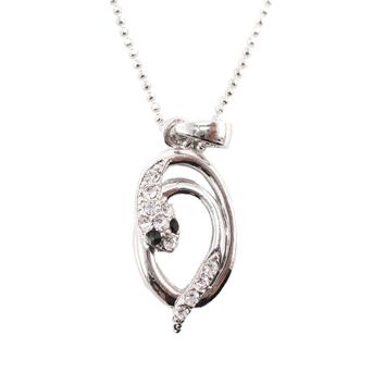 Minimal Coiled Snake Charm Necklace in Silver with Rhinestones