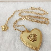 Versace New fashion love heart human head pendant necklace women Golden