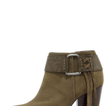Kensie Masola Olive Suede Leather Ankle Boots