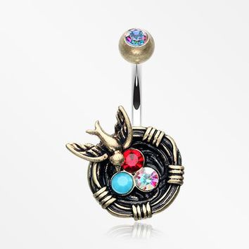 Vintage Boho Sparrow Birdnest Belly Button Ring