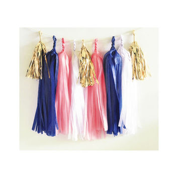 Paper Garland & Metallic Mini Tassels - 20 Tassel DIY Kit - Navy Coral White Gold Foil - Wedding Decor Party Bridal Shower Baby Birthday