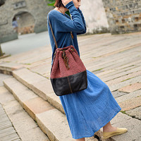 Bucket Bag/Women Leather Tote Bag, Large Soft Leather Bag, Distressed Leather Bag,Handwoven bag/bucket bag