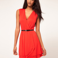 ASOS Skater Dress with Ballet Wrap and Belt
