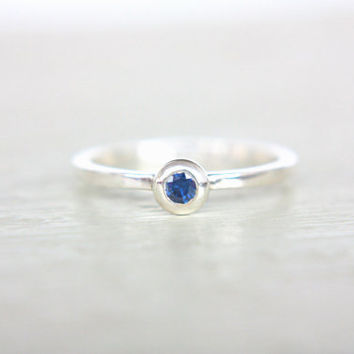 Blue Sapphire Ring Natural Sapphire Engagement Ring Ceylon Sapphire September Birthstone Ring Sterling Silver Sapphire Stacking Ring