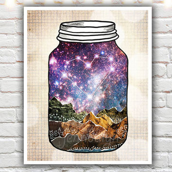 Love Can Move Mountains - fine art print, mixed media collage art, love print, constellation print, romantic decor, mason jar print