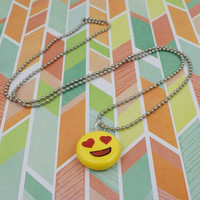 Emoji Heart Eyes Necklace | Polymer Clay | Charm Necklace | Cute Kawaii Fun | Handmade Gift