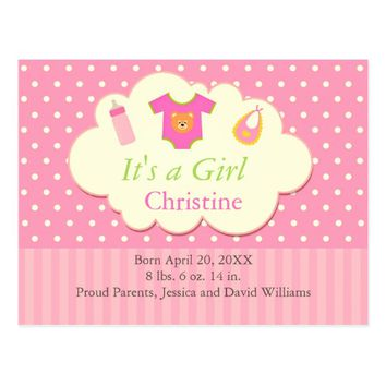 Pink Polka Dots Baby Bundle Announcement Card