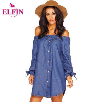 Plus Size Women Clothing 2016 Denim Dress Casual Maxi Femininas Vestidos Summer Mini Loose Shirt Dresses Cheap Clothes LJ1286S