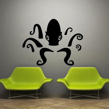 Wall decal decor decals sticker art design vinyl octopus clever tentacles fish jellyfish deep sea ocean animals bedroom  (m1119)