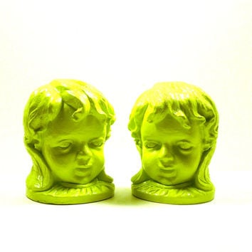 bookends, neon decor, cherubs, bookend, victorian, head bust, lime green, desk, home accents, upcycled, home decor