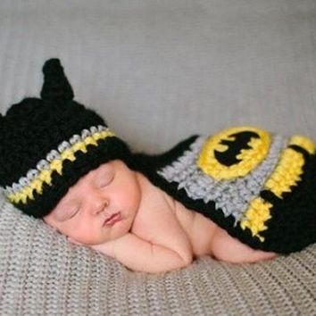 2015 New Infant Knitted Crochet Crochet Sweater knitting batman For Newborn Baby Costume Photo Photography Prop (Size: 0-6m, Color: Multicolor) = 5987626817