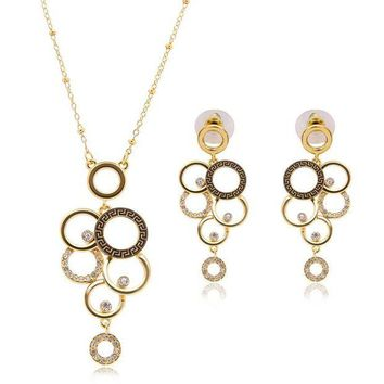 DCCK1IN 2016 new arrival luxury dubai balance jewelry sets exquisite multiple round necklace temperament simulated crystal earrings