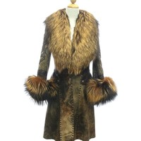 Beautiful Brown Italian Leather, Swarovsky Crystals, Fox  Fur Long Coat A14