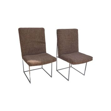 Pre-owned Milo Baughman Chrome Dining Chairs - Set of 8