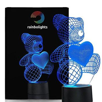 Unique Night Light Teddy Bear gift idea for Couples Coworkers girls or ladies 7 Color LED