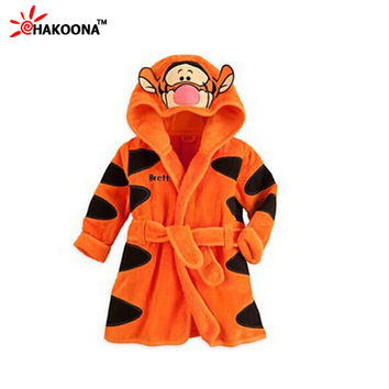 2015 New Baby Girls Boys Meninas Meninos 1 Piece with Hood Cartoon Pajamas Cartoon Mouse Robe kids Soft Robes
