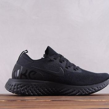 hcxx Nike 18ss  Epic React Flyknit Tiger Causal Running Shoes All Black