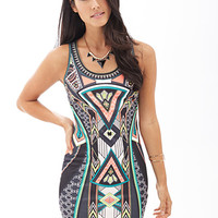 LOVE 21 Geo Print Bodycon Dress Grey/Black