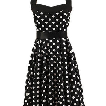 Black Polka Dot Halter Backless A-Line Pleated Mini Dress