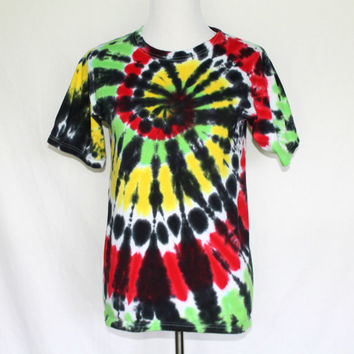 Rasta Tie Dye T-Shirt, Rasta Shirt, Rasta T-Shirt, Tie Dye Shirt, Tie Dye T-Shirt, Colorful Tie Dye Shirt, Bright T-Shirt, Size Small