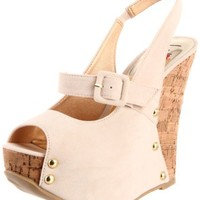 Luichiny Women's Laci Lou Wedge Sandal,Beige,7 M US